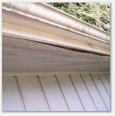 Soffits delaminating due to faulty/dirty gutters.