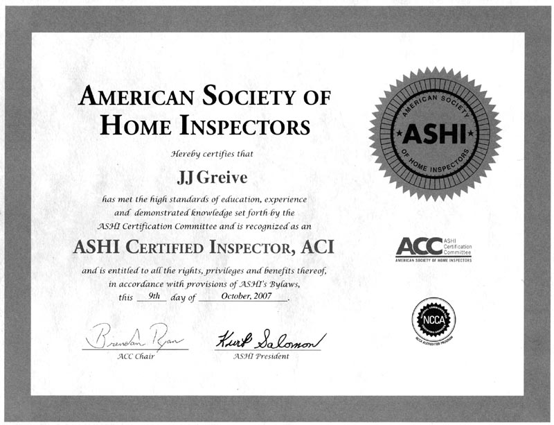 Two Certified Inspectors - Licensed Bonded Insured ASHI
