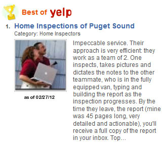 Top inspector on Yelp