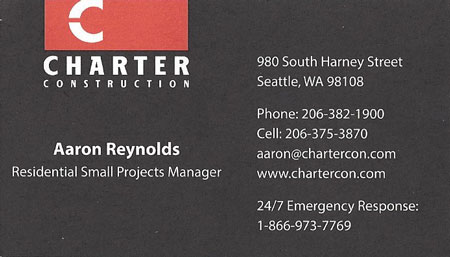 Aaron Reynolds Charter Construction 206-375-3870