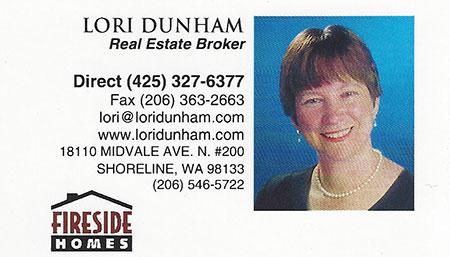 Lori Dunham Realtor 425-327-6377