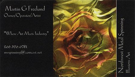 Martin G. Freelund Metal Artist 206-390-0781