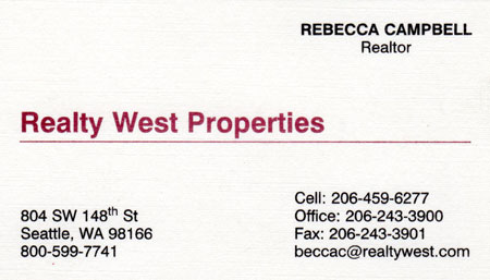 Rebecca Campbell Realtor 206-459-6277
