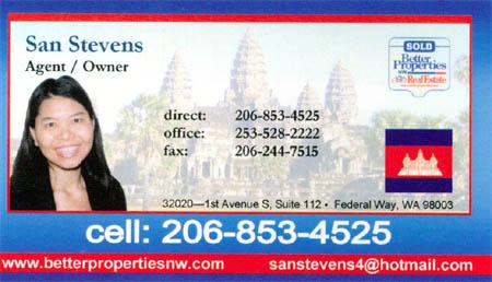 San Stevens Realtor 206-853-4525 Multilingual - fluent in Cambodian