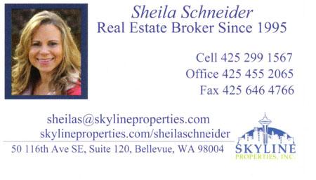 Realtor Sheila Schneider 425-772-7958