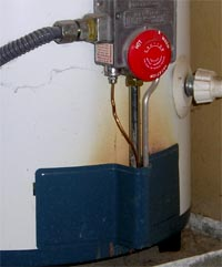 This hot water heater is leaking combustion gasses into the home