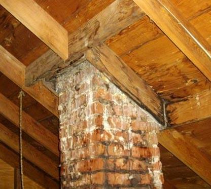 leak from chimney in attic