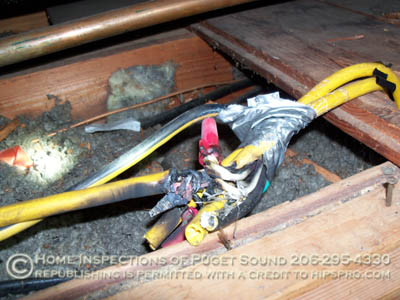 smoldering wires in attic - thermal imaging home inspection seattle